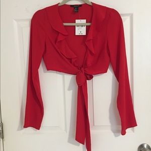 Forever 21 Tie Front Red Blouse- S
